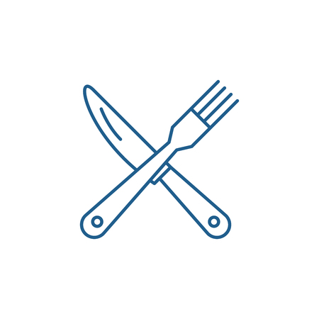 Fork and knife line concept icon. Fork and knife flat  vector website sign, outline symbol, illustration. Çizim