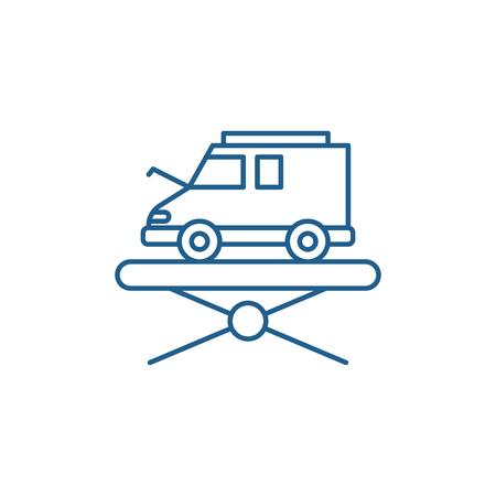 Forklift line concept icon. Forklift flat  vector website sign, outline symbol, illustration.  イラスト・ベクター素材