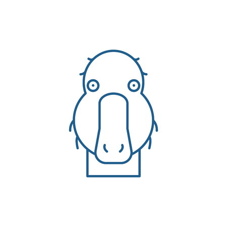 Funny duck line concept icon. Funny duck flat  vector website sign, outline symbol, illustration.