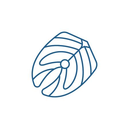 Fish fillet line concept icon. Fish fillet flat  vector website sign, outline symbol, illustration.
