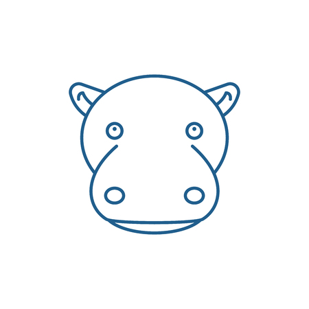 Funny hippo line concept icon. Funny hippo flat  vector website sign, outline symbol, illustration.
