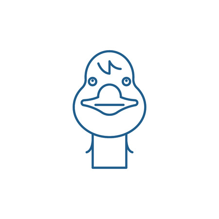 Funny goose line concept icon. Funny goose flat  vector website sign, outline symbol, illustration. Ilustracja
