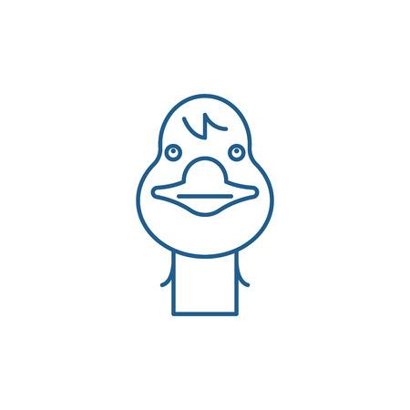 Funny goose line concept icon. Funny goose flat  vector website sign, outline symbol, illustration. Illustration