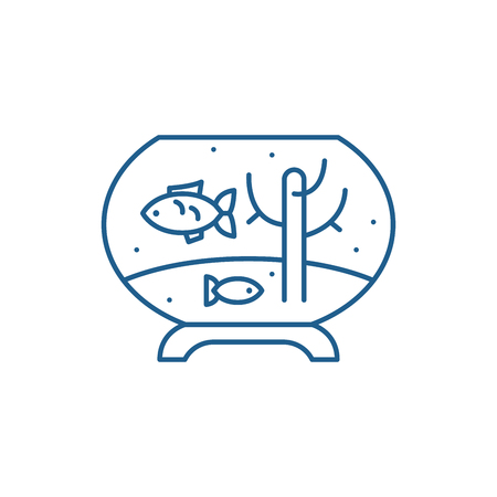 Fish in the aquarium line concept icon. Fish in the aquarium flat  vector website sign, outline symbol, illustration.