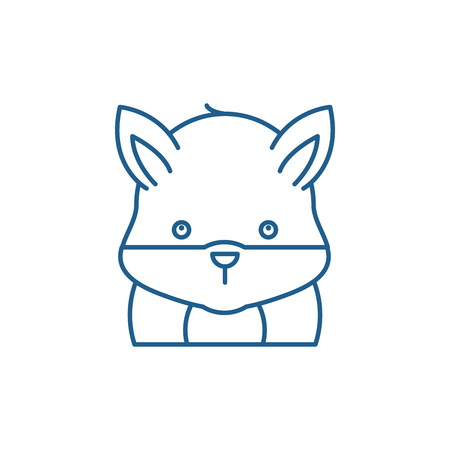 Funny hamster line concept icon. Funny hamster flat  vector website sign, outline symbol, illustration.