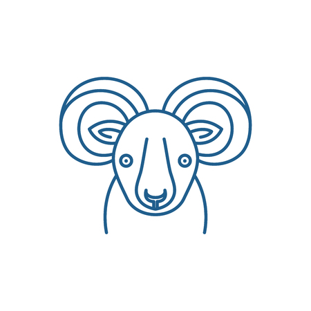 Funny ibex line concept icon. Funny ibex flat  vector website sign, outline symbol, illustration. Illustration