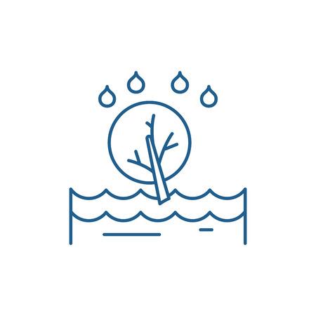 Flood line concept icon. Flood flat  vector website sign, outline symbol, illustration. Banque d'images - 119907373