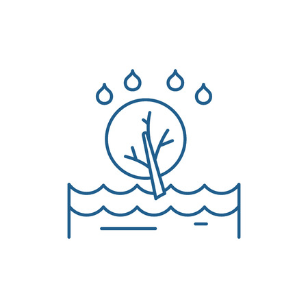 Flood line concept icon. Flood flat  vector website sign, outline symbol, illustration.