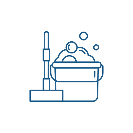 Floor cleaning line concept icon. Floor cleaning flat  vector website sign, outline symbol, illustration. Banque d'images - 119907387