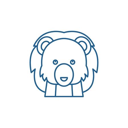 Funny lion line concept icon. Funny lion flat  vector website sign, outline symbol, illustration.