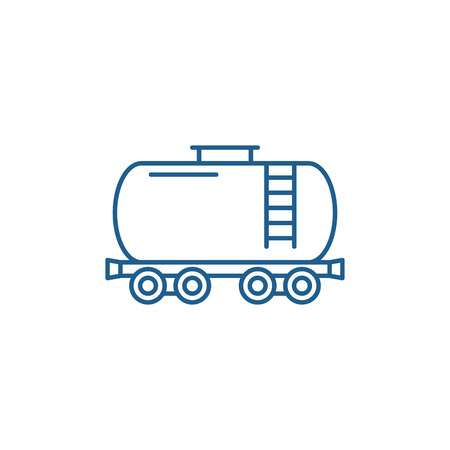 Fuel tank line concept icon. Fuel tank flat  vector website sign, outline symbol, illustration.