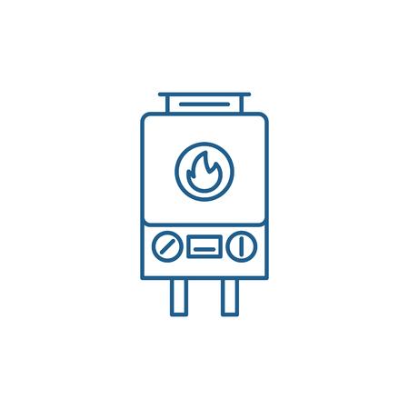 Symbol für das Konzept der Gasheizung. Gasheizung flaches Vektor-Website-Zeichen, Umrisssymbol, Illustration.
