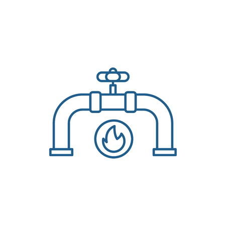 Gas pipeline line concept icon. Gas pipeline flat  vector website sign, outline symbol, illustration.