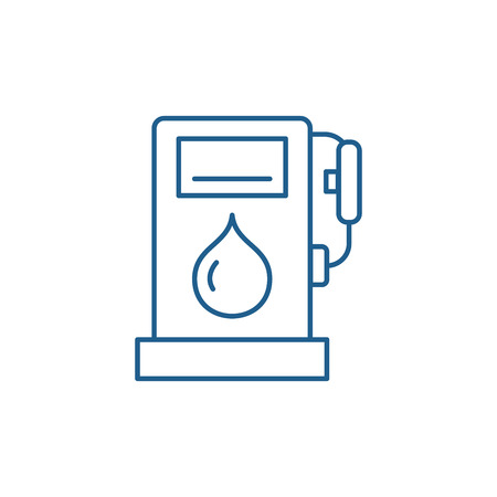 Gas station line concept icon. Gas station flat  vector website sign, outline symbol, illustration. Archivio Fotografico - 119907407