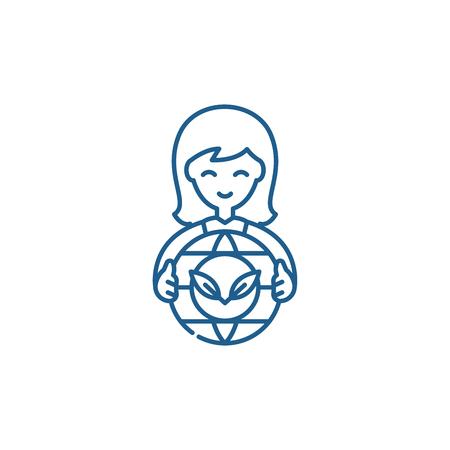 Gear wheel of the future line concept icon. Gear wheel of the future flat  vector website sign, outline symbol, illustration.