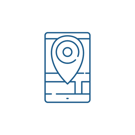 Geolocation line concept icon. Geolocation flat  vector website sign, outline symbol, illustration.