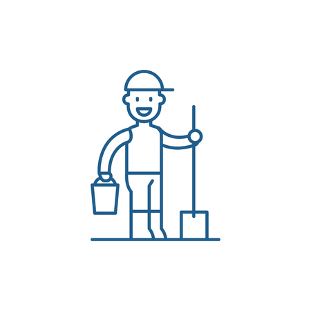 Gardener line concept icon. Gardener flat  vector website sign, outline symbol, illustration. Banco de Imagens - 119907443