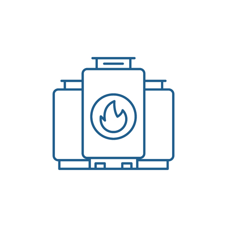 Gas boiler line concept icon. Gas boiler flat  vector website sign, outline symbol, illustration.