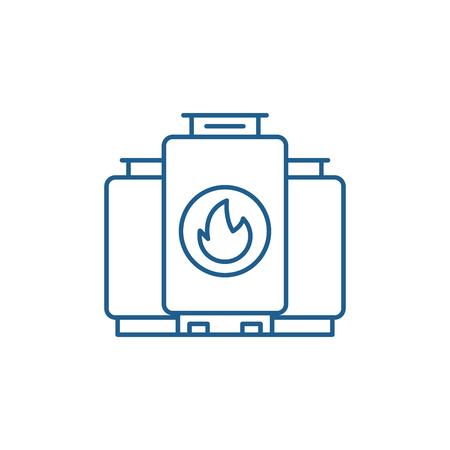Gas boiler line concept icon. Gas boiler flat  vector website sign, outline symbol, illustration.