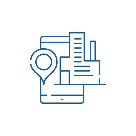 Geolocation system line concept icon. Geolocation system flat  vector website sign, outline symbol, illustration. Ilustração