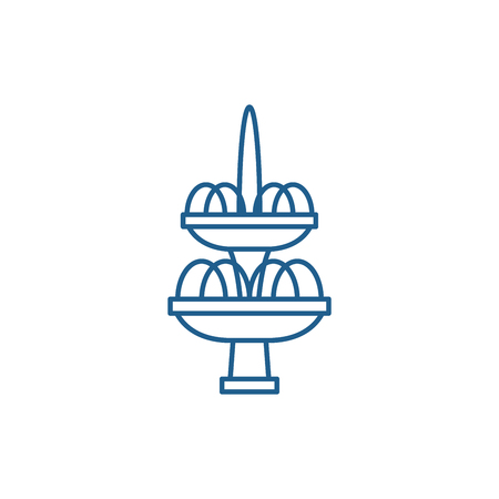 Fountain line concept icon. Fountain flat  vector website sign, outline symbol, illustration.  イラスト・ベクター素材