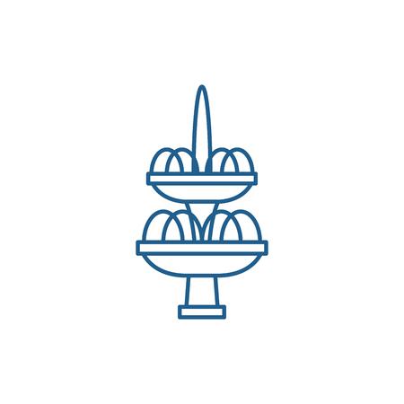Icône de concept de ligne de fontaine. Signe de site Web de vecteur plat de fontaine, symbole du contour, illustration.