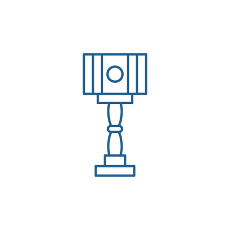 Floor design lamp line concept icon. Floor design lamp flat  vector website sign, outline symbol, illustration.