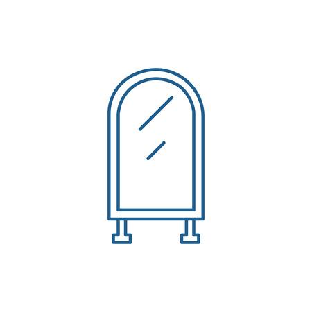 Floor mirror line concept icon. Floor mirror flat  vector website sign, outline symbol, illustration.