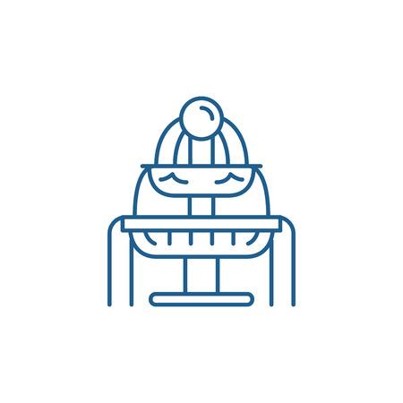 Icône de concept de ligne de fontaines. Signe de site Web de vecteur plat de fontaines, symbole du contour, illustration.
