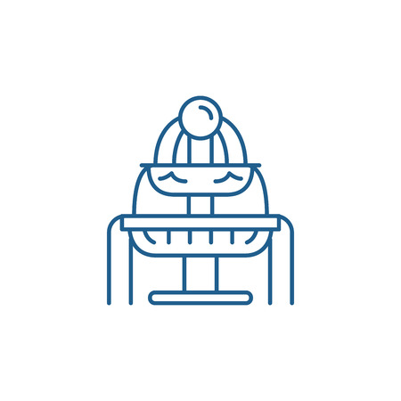 Fountains line concept icon. Fountains flat  vector website sign, outline symbol, illustration.