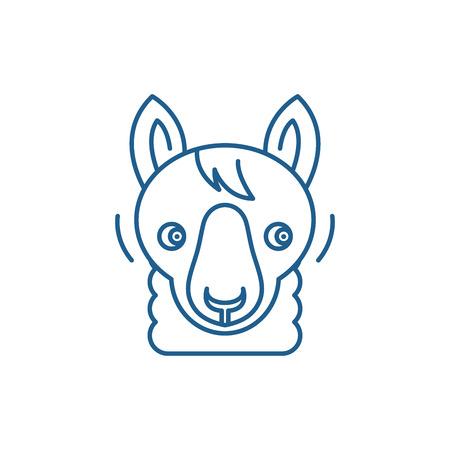 Funny llama line concept icon. Funny llama flat  vector website sign, outline symbol, illustration.
