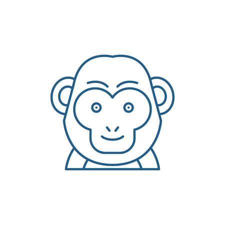 Funny monkey line concept icon. Funny monkey flat  vector website sign, outline symbol, illustration.