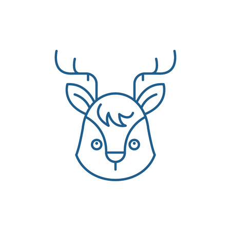 Funny moose line concept icon. Funny moose flat  vector website sign, outline symbol, illustration.