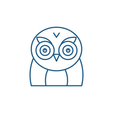 Funny owl line concept icon. Funny owl flat  vector website sign, outline symbol, illustration.