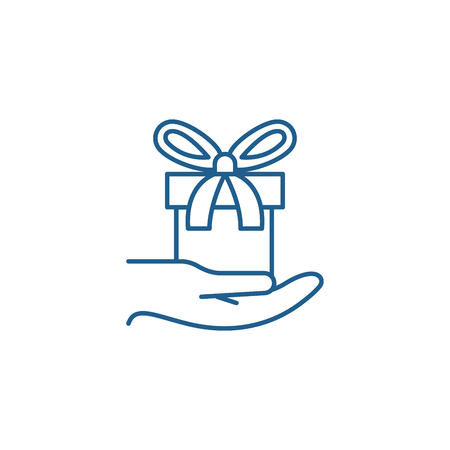 Gift in hand line concept icon. Gift in hand flat  vector website sign, outline symbol, illustration.