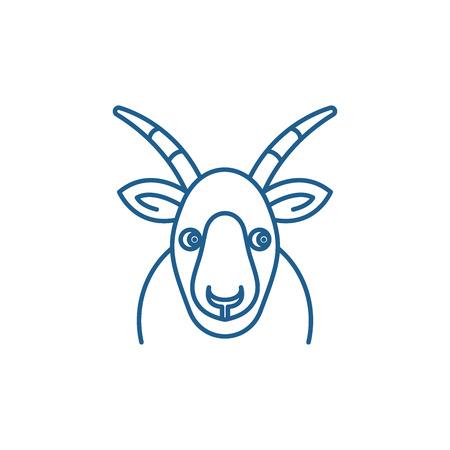 Funny goat line concept icon. Funny goat flat  vector website sign, outline symbol, illustration. Иллюстрация
