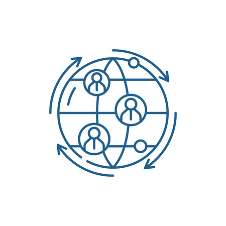 Global business connections line concept icon. Global business connections flat vector website sign, outline symbol, illustration.