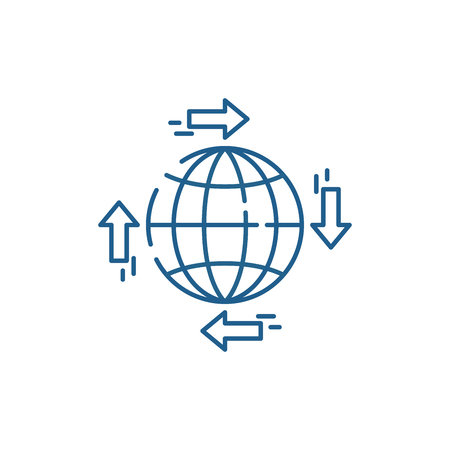 Global distribution line concept icon. Global distribution flat  vector website sign, outline symbol, illustration. 向量圖像
