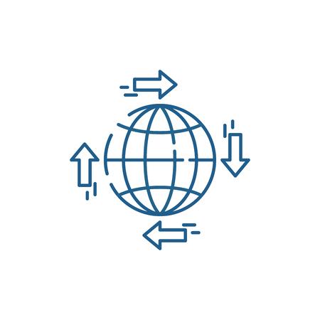 Global distribution line concept icon. Global distribution flat  vector website sign, outline symbol, illustration. Illustration