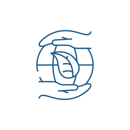 Global energy saving technologies line concept icon. Global energy saving technologies flat  vector website sign, outline symbol, illustration. Foto de archivo - 119907704