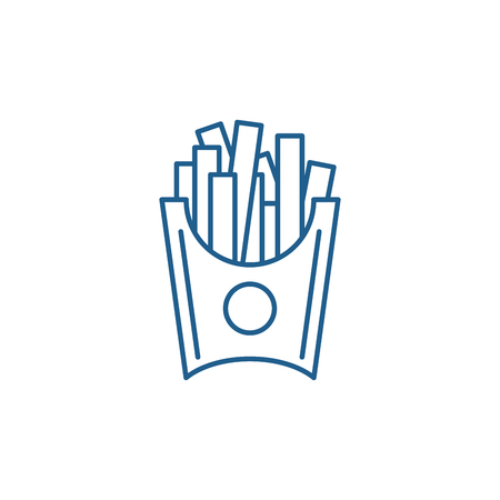 French fries line concept icon. French fries flat  vector website sign, outline symbol, illustration. Foto de archivo - 119907713