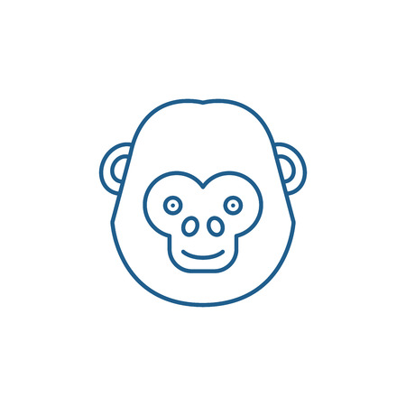 Funny chimpanzee line concept icon. Funny chimpanzee flat  vector website sign, outline symbol, illustration. Illustration