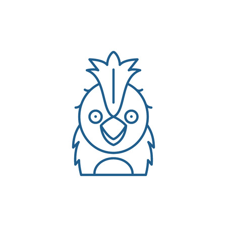 Funny parrot line concept icon. Funny parrot flat  vector website sign, outline symbol, illustration.