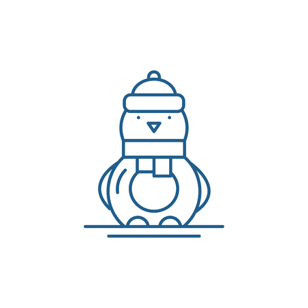 Funny penguin line concept icon. Funny penguin flat  vector website sign, outline symbol, illustration. 向量圖像