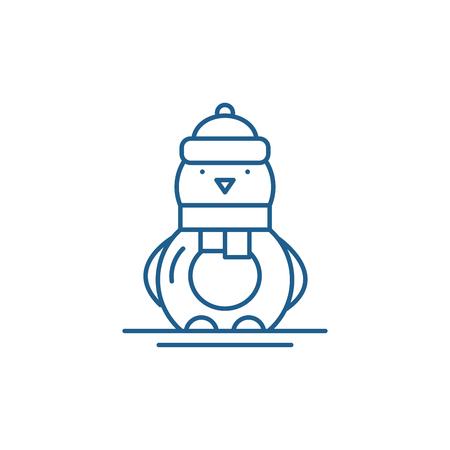Funny penguin line concept icon. Funny penguin flat  vector website sign, outline symbol, illustration. Illustration