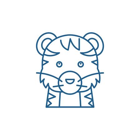 Funny tiger line concept icon. Funny tiger flat  vector website sign, outline symbol, illustration. Ilustração