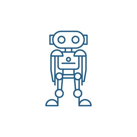 Future robot line concept icon. Future robot flat  vector website sign, outline symbol, illustration.