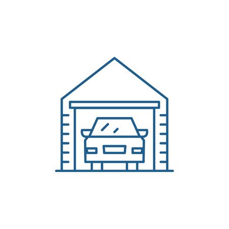 Garage line concept icon. Garage flat  vector website sign, outline symbol, illustration. Ilustracja