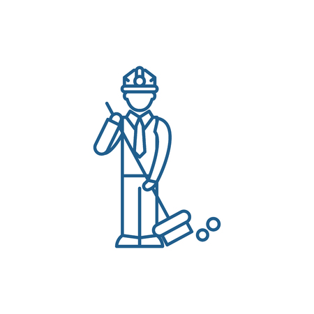 Garbage collection line concept icon. Garbage collection flat  vector website sign, outline symbol, illustration.