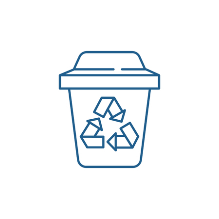 Garbage sorting line concept icon. Garbage sorting flat  vector website sign, outline symbol, illustration.